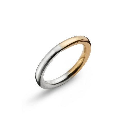 Sterling Silver & 9kt Gold Two Tone Round Ring ,[product vendor],JewelStreet