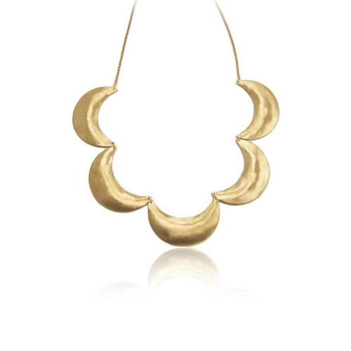 Plated Brass Moon Necklace
