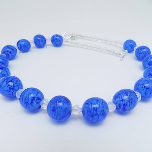 Murano Glass Bead Blue Skyglow Necklace ,[product vendor],JewelStreet