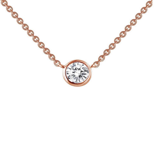 Lafonn Rose Gold Plated Bezel-set Solitaire Necklace