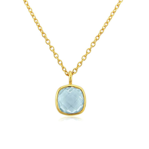 Yellow Gold Plated Brooklyn Blue Topaz Necklace