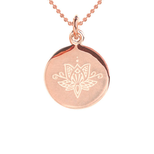 Rose Gold Plated Lotus Disc Necklace ,[product vendor],JewelStreet