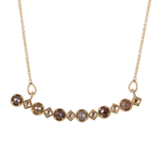18kt Yellow Gold Natural Colour & White Rose-Cut Diamond Bar Necklace ,[product vendor],JewelStreet