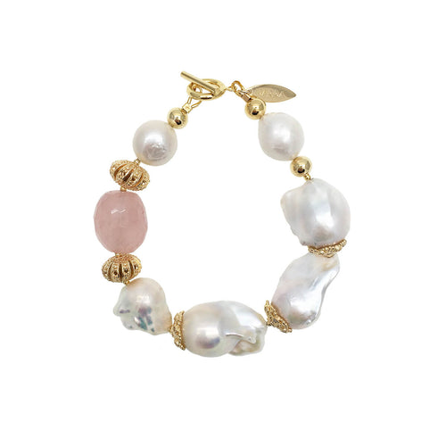 Freshwater Baroque Pearls & Rose Quartz Stylish Bracelet ,[product vendor],JewelStreet