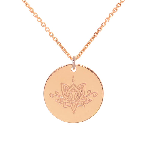 Rose Gold Plated Ornate Lotus myMantra Pendant ,[product vendor],JewelStreet