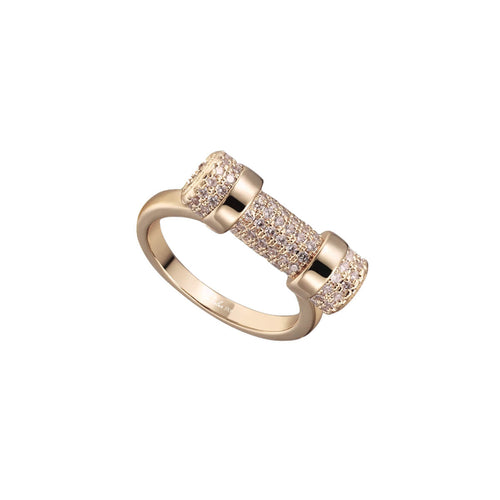 Paved Rose Gold D Ring ,[product vendor],JewelStreet