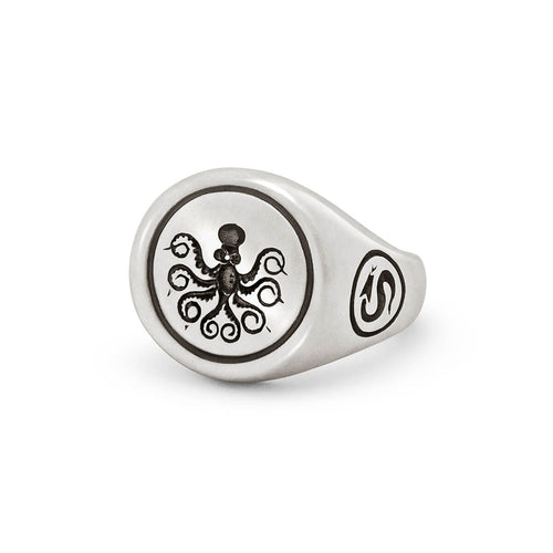 Sterling Silver Octopus Signet Ring ,[product vendor],JewelStreet