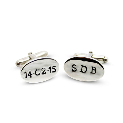 Personalised Oval Sterling Silver Cufflinks
