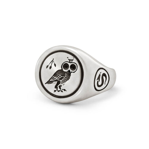 Sterling Silver Owl Signet Ring ,[product vendor],JewelStreet