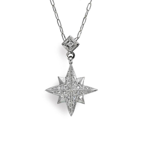 14kt White Gold Eight-Point Diamond Star Pendant Necklace
