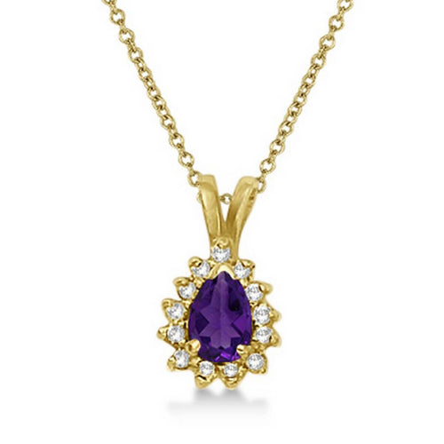 Yellow Gold Pear Amethyst & Diamond Pendant Necklace | Allurez