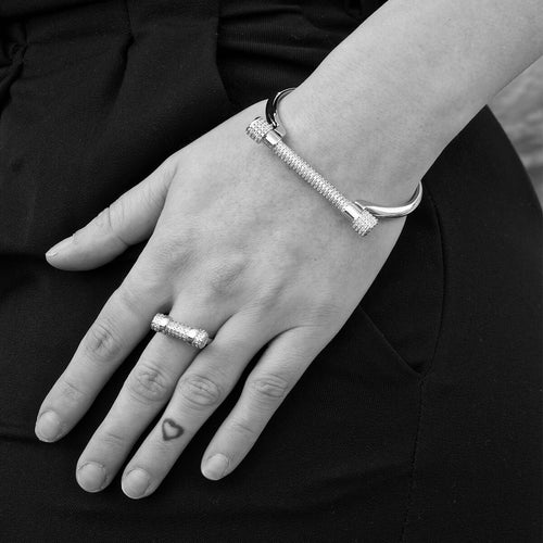 Paved White Gold D Ring ,[product vendor],JewelStreet