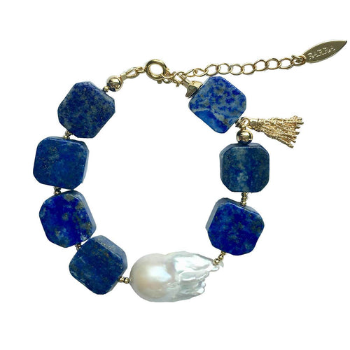 Natural Lapis Lazuli Bracelet With Freshwater Pearls