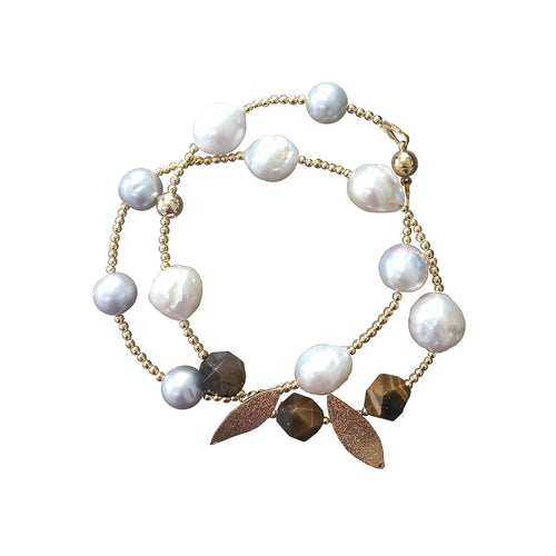Tiger Eye & Freshwater Pearl Double Wrapped Bracelet ,[product vendor],JewelStreet