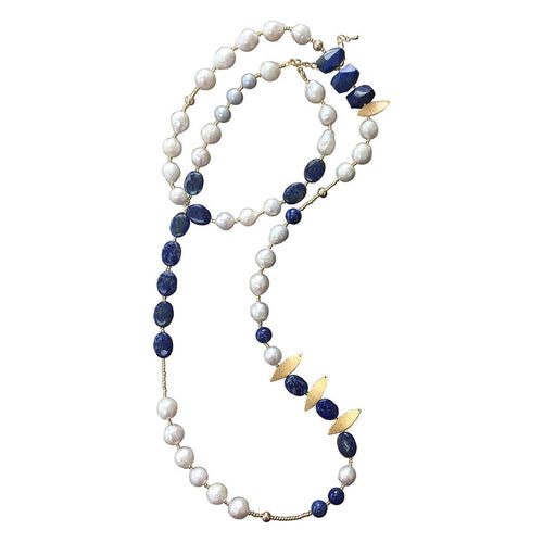 Freshwater Pearl & Lapis Lazuli Multi-Way Necklace