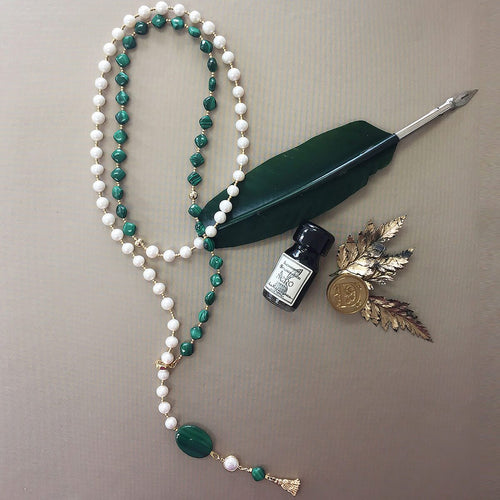 Round Freshwater Pearl & Malachite Y-Shaped Necklace