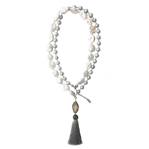 White & Grey Freshwater Pearl Y-shaped Necklace ,[product vendor],JewelStreet