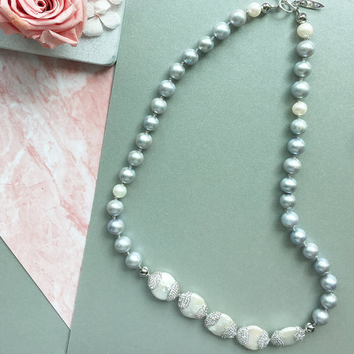 White & Grey Freshwater Pearl Short Necklace ,[product vendor],JewelStreet