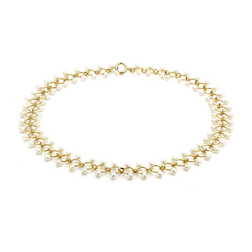 18kt Yellow Gold Necklace With White Freshwater Pearls