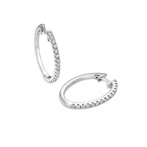 18kt White Gold Oval Diamond Hoop Earrings ,[product vendor],JewelStreet