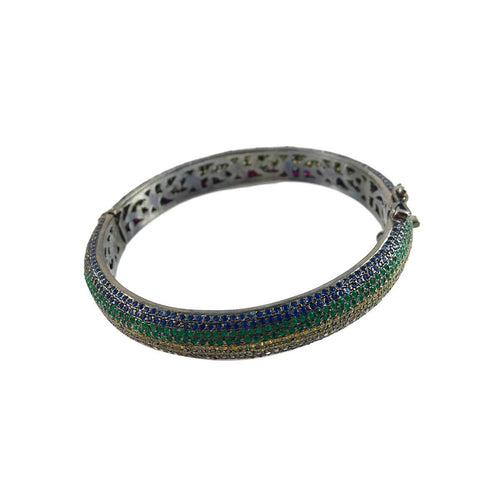 Rhodium Plated Silver Pave Rainbow Bangle