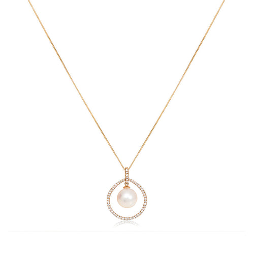 Cultured Freshwater Pearl Circular Pendant ,[product vendor],JewelStreet