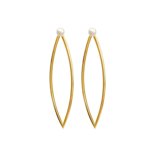 Yellow Gold Plated Pearl Marquis Earrings ,[product vendor],JewelStreet