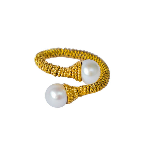 24kt Gold Plated Sterling Silver White Freshwater Pearl Ring