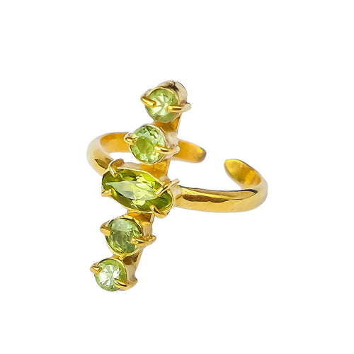 24kt Gold Plated Sterling Silver Olive Green Peridot Ring