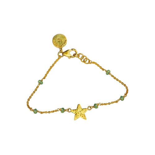 24kt Gold Plated Sterling Silver Peridots Star Sparkle Bracelet