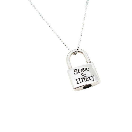 Personalised Padlock Sterling Silver Typewriter Necklace ,[product vendor],JewelStreet