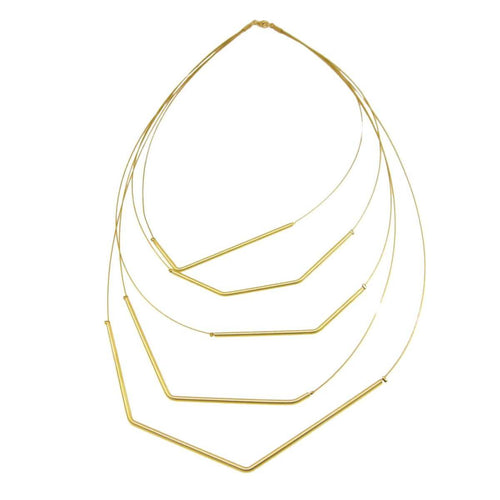 Plated Sterling Silver Polyline Necklace