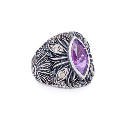 Sterling Silver & Amethyst A'donna Ring | Katherine LeGrand