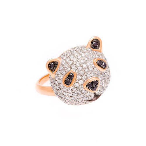 18kt Rose Gold Panda Head Ring