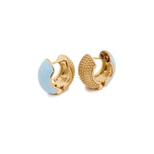 Yellow Gold Plated Baby Blue Reversible Barbara Lynns Earrings ,[product vendor],JewelStreet