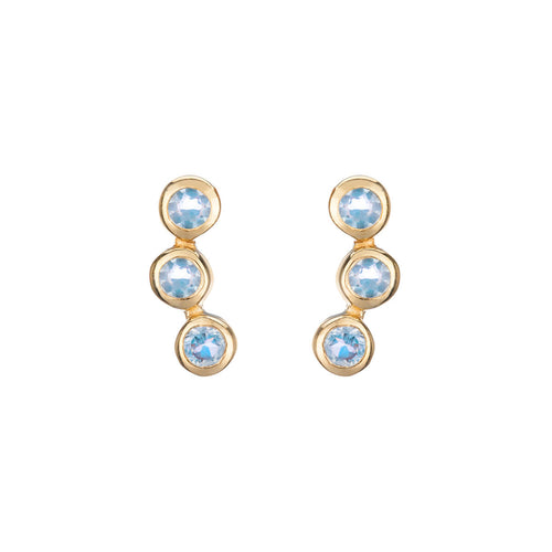 Yellow Gold Plated Alexandra Earrings With Blue Topaz ,[product vendor],JewelStreet