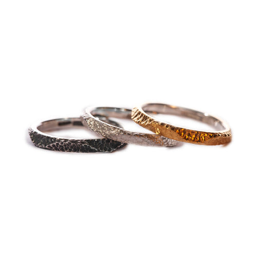 Textured Stacking Rings in Silver, Oxidised Silver, & Gold Plating ,[product vendor],JewelStreet