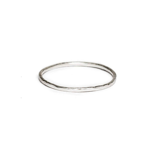 Sterling Silver Thin Hammered Round Wire Ring