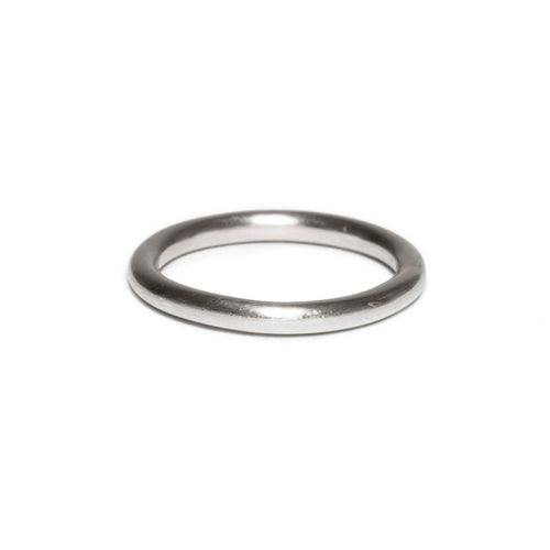Sterling Silver Wide Hammered Round Wire Ring