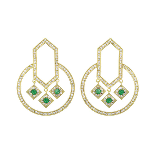 18kt Yellow Gold Emerald & Diamond Circle Of Life Geometric Round Earrings ,[product vendor],JewelStreet