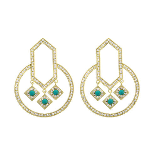 18kt Yellow Gold Turquoise & Diamond Circle Of Life Geometric Round Earrings ,[product vendor],JewelStreet