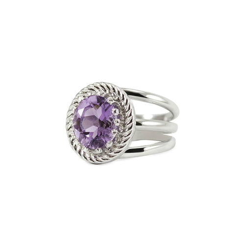 Rhodium Plated Silver Luccichio Amethyst Spiral Ring ,[product vendor],JewelStreet