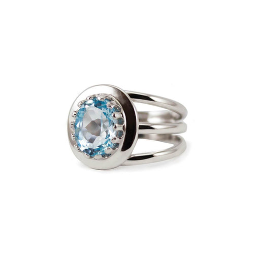 Rhodium Plated Silver Luccichio Blue Topaz Spiral Ring ,[product vendor],JewelStreet