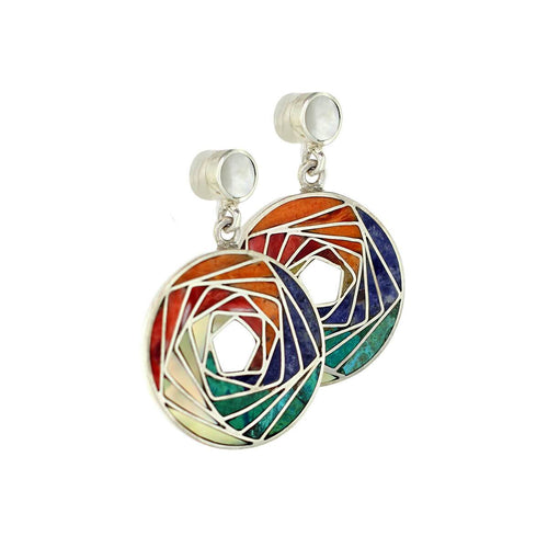 Sterling Silver Mosaic Spiral Earrings