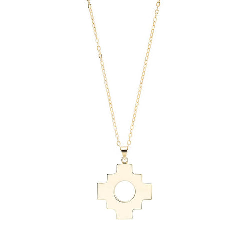 18kt Gold Plated Silver Inca Cross Pendant Necklace
