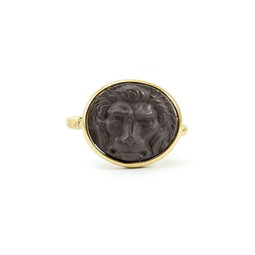 Yellow Gold Plated Silver Lion Cameo Ring ,[product vendor],JewelStreet
