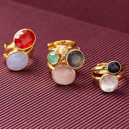 Atomic Maxi Rainbow Moonstone 18kt Gold Vermeil Adjustable Ring