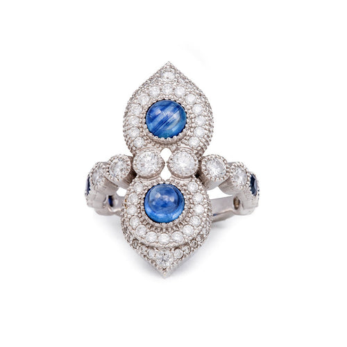 White Gold, Sapphire & Diamond Arabian Nights Ring | Katherine LeGrand