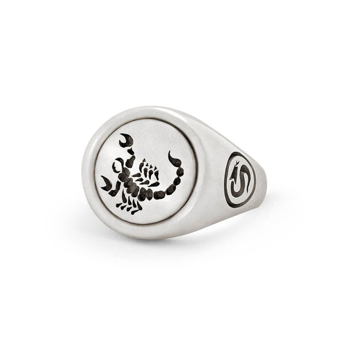 Sterling Silver Scorpion Signet Ring ,[product vendor],JewelStreet