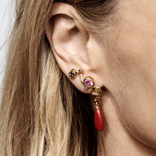 Gold Seafire Earring With Coral, Sapphire, Spinel & Diamonds | Bergsoe ,[product vendor],JewelStreet
